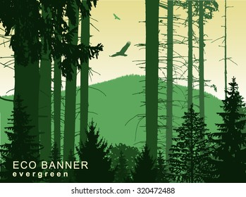 Vector landscape. Eco banner. Green and yellow tones. Eps 10.