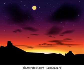 Vector landscape with evening skies. Sunset as a background. Hand drawn paysage nightfall.