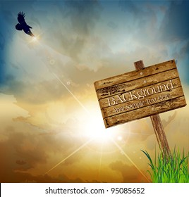 Vector landscape with a flying eagle on a background of the rising sun and a wooden sign pointing