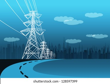 Vector landscape high voltage pole and road to city