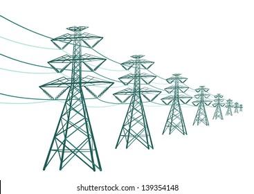 Vector landscape high voltage pole