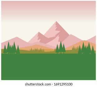 Vector Landscape Illustration. Landscape vector art with solid theme. Natural Vector art