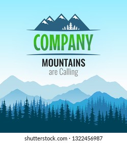 Vector landscape illustration, badge of travel tour company on beautiful nature background. Logo with silhouette forest and mountains of Scandinavian outdoor tourism.