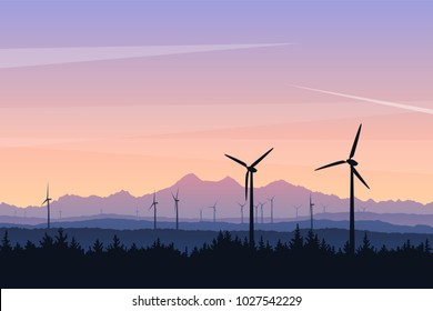 Vector landscape illustration with wind turbines at sunset. Green power of future, sustainable source of energy. Silhouettes of distant mountains and forest, beautiful evening sky colors