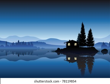 vector landscape with an islet and a cozy home in the lake in the evening and the mountains in the background