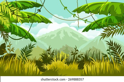 vector landscape. jungles and mountains in the distance