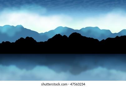 Vector Landscape at lake