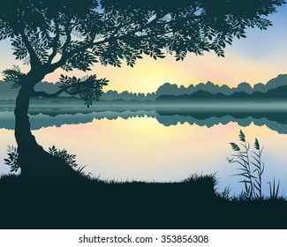 Vector landscape with a lake at dawn