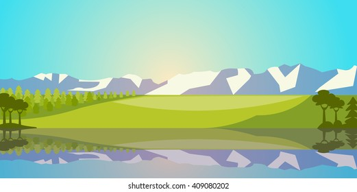 Vector Landscape with Lake, Field and Mountains. Rural scenery Illustration.