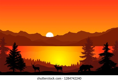 vector landscape of lake in the mountains and animals wondering in the woods under sunset sky,nature illustration
