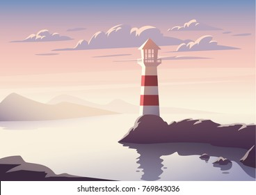 Vector landscape with lighthouse illustration. Sunset at sea.