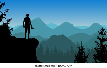 Vector landscape with a man standing on a cliff holding camera and watching blue misty mountains.