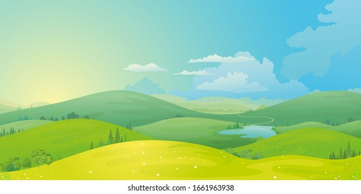 Vector landscape of mountain landscape and river across green fields