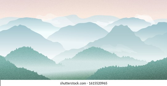 Vector landscape with mountain silhouettes in morning fog. Panoramic illustration of rough hills with forest, clouds and sunrise in mountains