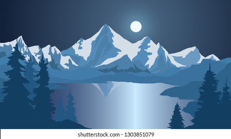 Vector landscape with mountains and lake, alps, night and full moon