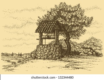 Vector landscape. Old well in the shade of lush tree on the hill