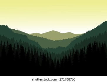 Vector landscape. Panorama of mountains. Valley(canyon). Three peaks. Natural shades. Eps 10