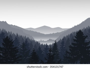 Vector landscape. Panorama of mountains. Valley(canyon). Three peaks. Grey shades.
