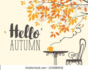 Vector landscape in retro style on the autumn theme with the inscription Hello autumn, with a cup of hot drink on the table under autumn tree
