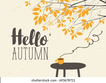 Vector landscape in retro style on the autumn theme with the inscription Hello autumn, with a cup of hot drink on the table and autumn tree