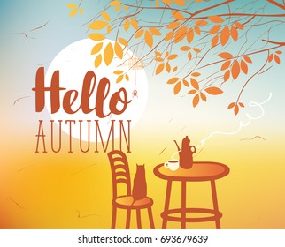 Vector landscape in retro style on the autumn theme with the inscription Hello autumn, with a sundown, cat and furniture of street cafe