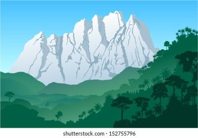 Vector Landscape with Roraima tepui in Jungle Rainforest - Venezuela, South America