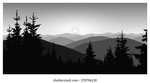 Vector landscape. Silhouette of mountains and coniferous trees. Grey shades. Eps 10.