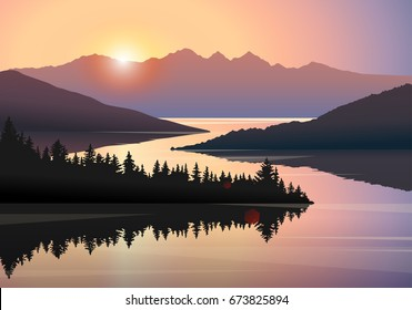 Vector landscape with silhouettes of distant mountains, hills and forest reflecting in a river at sunrise. Illustration of beautiful places of untouched nature. Natural reserve, wildlife sanctuary.