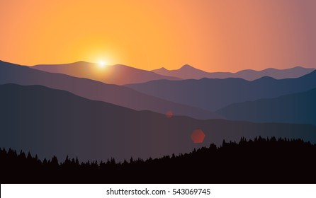 Vector landscape with silhouettes of mountain ridges and forest at sunrise. Illustration of travel to beautiful places of nature