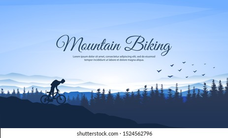 Vector landscape. Silhouettes of mountains, forest, hiker. A man with a backpack rides a mountain bike on the rocks. Mountain trip. Tourist with sticks. Realistic trees. Blue foggy background