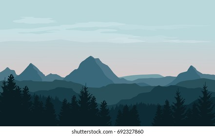 Vector landscape with silhouettes of mountains, hills and forest with morning sky