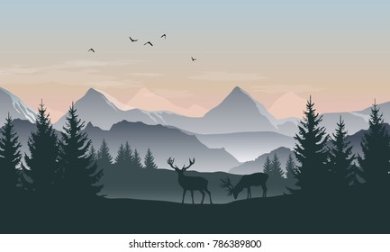 Vector landscape with silhouettes of mountains, trees and two deers with sunrise or sunset sky