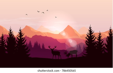 Vector landscape with silhouettes of mountains, trees and two deer with sunrise or sunset sky and lens flares