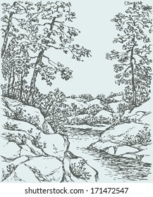 Vector landscape. Sketch a mountain stream flowing between rocky shores with spreading trees