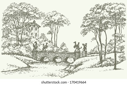 Vector landscape. Sketch of an old stone bridge over a rivulet in the park with an English-style palace in the background