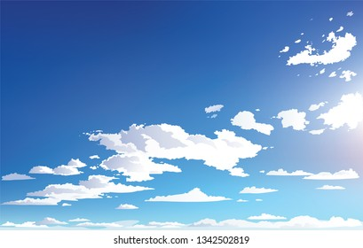 Vector landscape sky clouds. Anime scenery. Background design