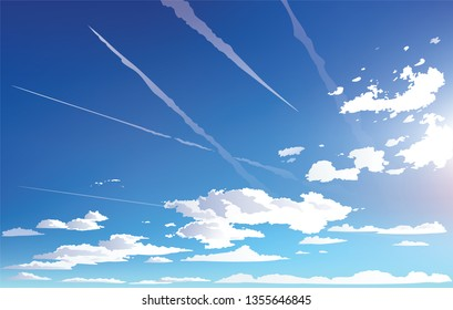 Vector landscape sky clouds. Plane in the sky. cartoon anime style. Background design