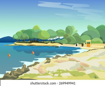 vector landscape. sunny bay with views of the beach, sea, pine trees and distant mountains