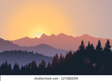 Vector landscape, sunset scene in nature with mountains and forest, silhouettes of trees and hills in the evening