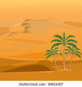 vector landscape with three palm trees against a background of brightly sunlit sandy desert