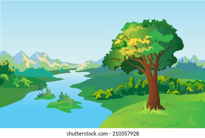 vector landscape with tree