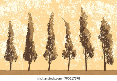 Vector landscape with trees in a field on sky background in grunge style. Seamless pattern of trees with leaves. Drawing pencil abstract sketches of trees
