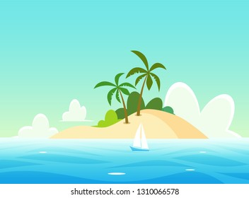 Vector Landscape with tropical island