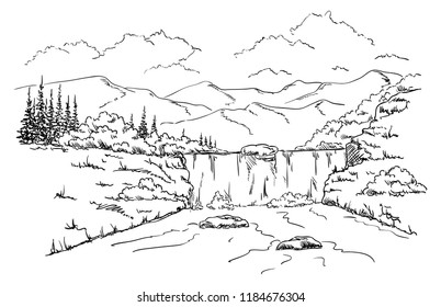 vector -  landscape  Waterfall- isolated on background