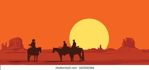 Vector landscape with wild American prairies and silhouettes of armed cowboys on horseback at sunset or dawn. Western vintage background. Decorative illustration on the theme of the wild West.