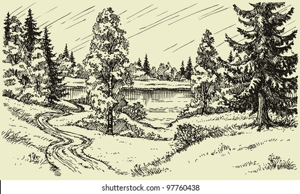 Vector landscape. A winding dirt road through the trees in the field leads to the lake