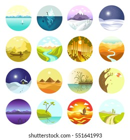 Vector landscapes icons set. Symbols of ecology nature and travel: sea and sun, mountain, tree, park or green forest, summer sunset and river. Flat illustration for labels, logotype, badges or emblems