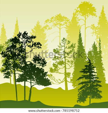 vector landscapes pine fir trees abstract stock vector royalty free