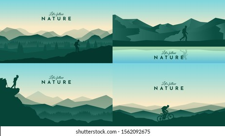 Vector landscapes set. Travel concept of discovering, exploring and observing nature. Hiking. Adventure tourism. The guy watches nature, riding at mountain bike, climbing to the top and going hike