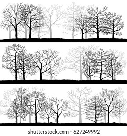 vector landscapes with winter trees, abstract nature background, forest template, hand drawn illustration